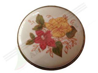 671 24 pomolo maniglia pomello 671 24 fiore giallo rosso porcellana ceramica rotonda base - Maniglie porcellana cucina ...